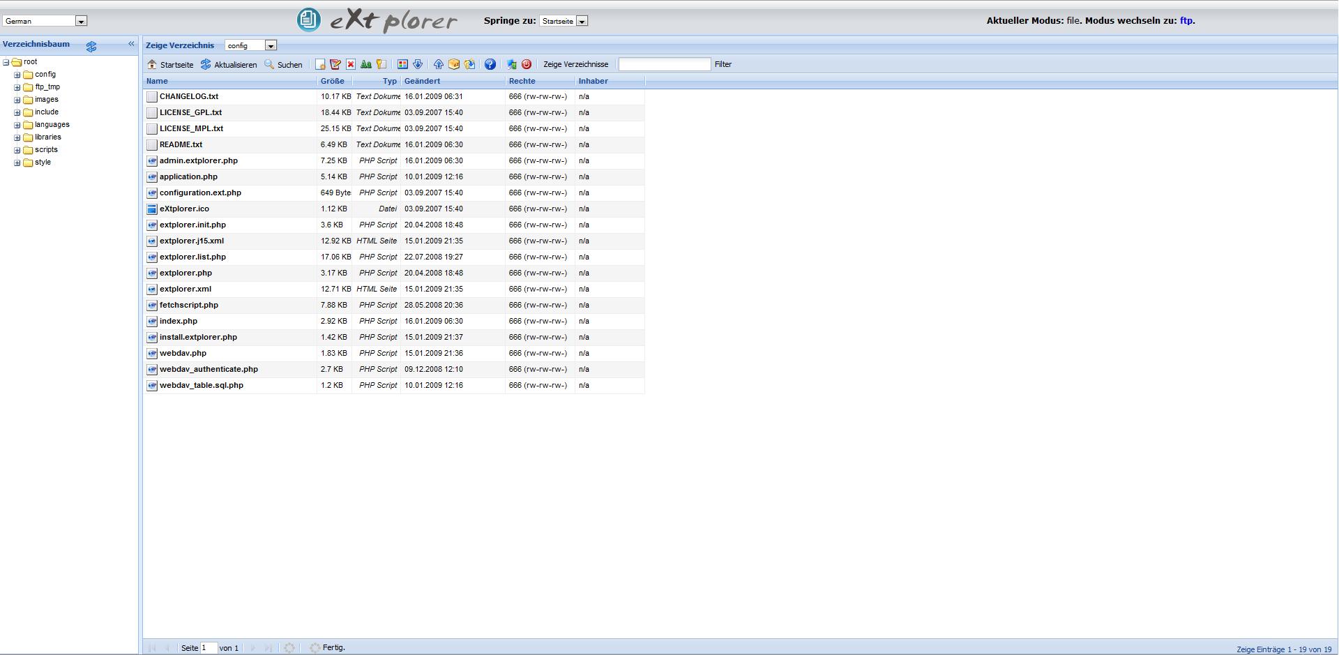 Screenshot von eXtplorer im eingeloggten administrator Zustand