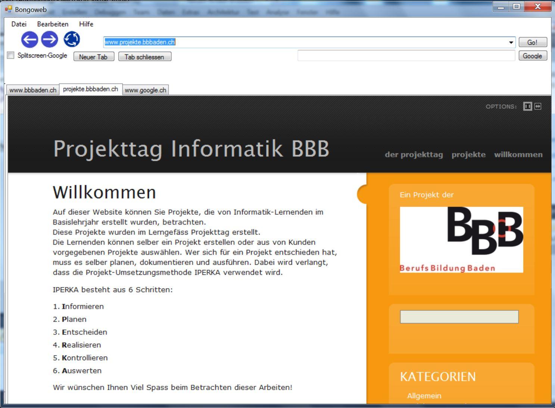 Der Browser mit geöffneten Tabs