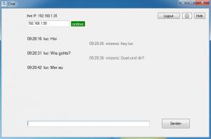 Chat Fenster (links Partner seine Nachrichten, rechts eigene Nachrichten)
